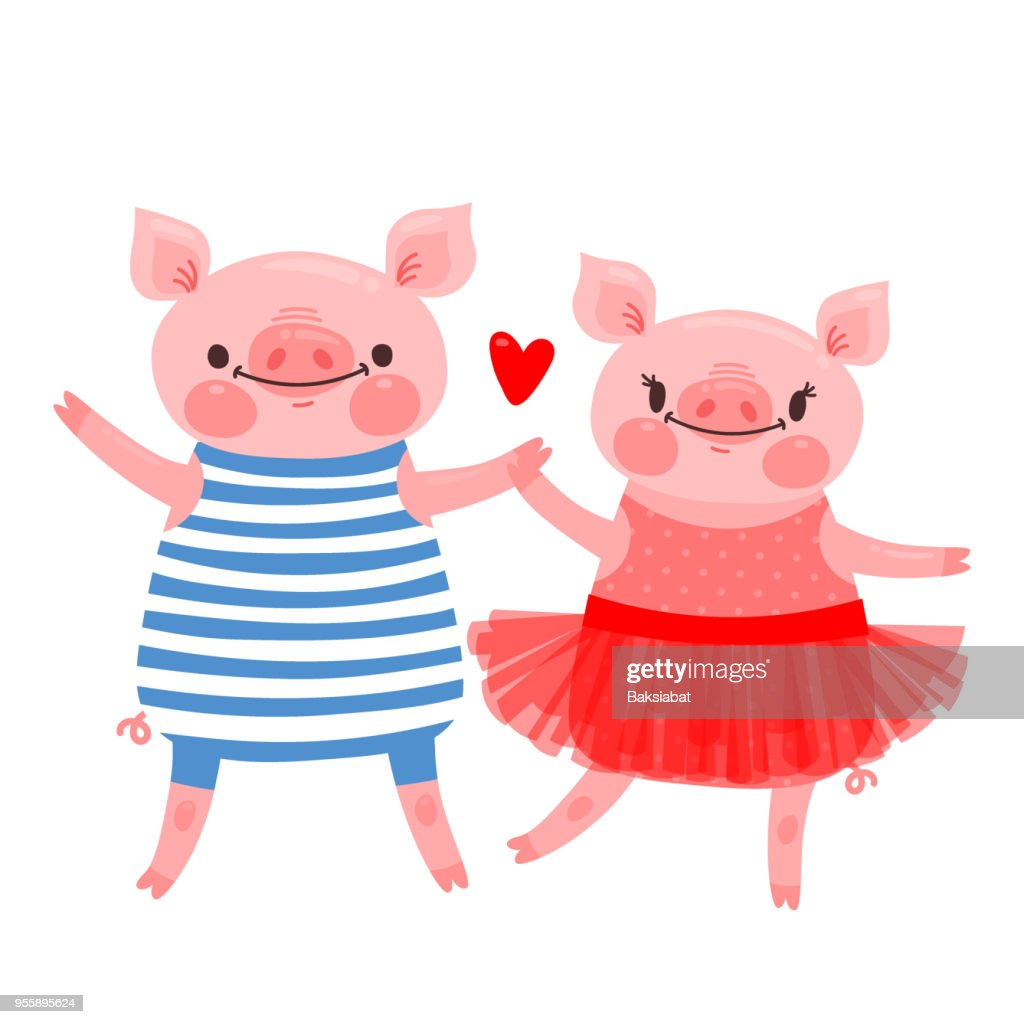 Couple of sweet piglets. Character design pig in ballet skirt and a hog in the vest. Vector illustration