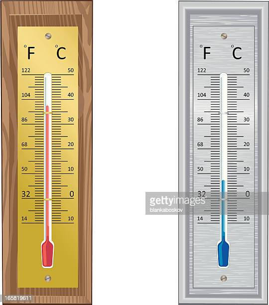 couple of thermometers - fahrenheit stock illustrations