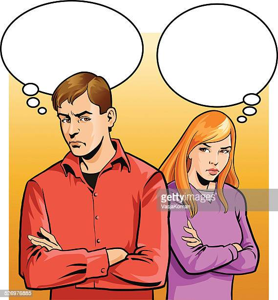 couple of young people not talking - ignoring stock illustrations, clip art, cartoons, & icons
