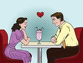 Couple on a date in restaurant. Pop art.