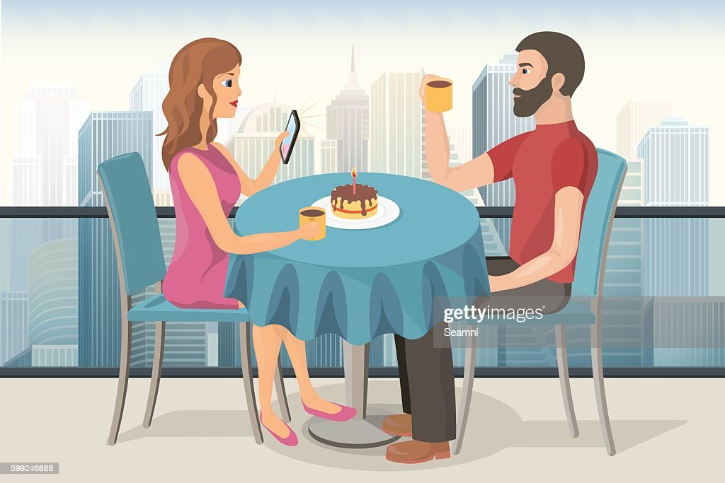 Couple on a date in roof top cafe
