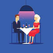 Couple on a date sitting in a restaurant. Flat design vector illustration.