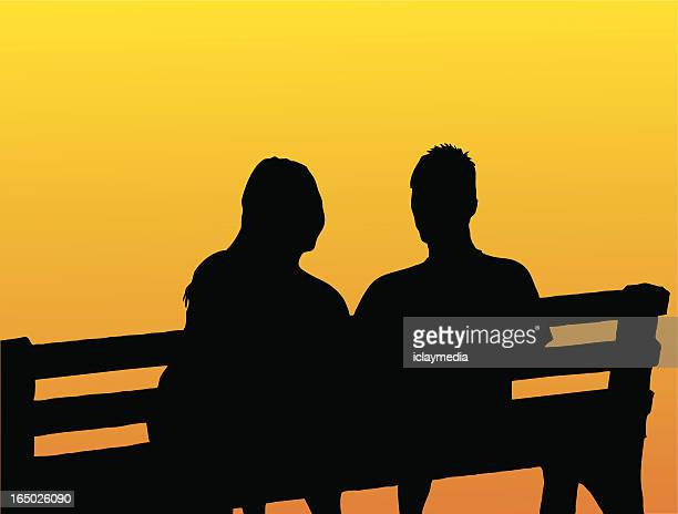 couple on bench - alternative therapy stock illustrations, clip art, cartoons, & icons