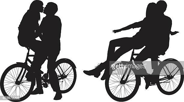 couple on bicycle and kissing - boyfriend stock illustrations, clip art, cartoons, & icons