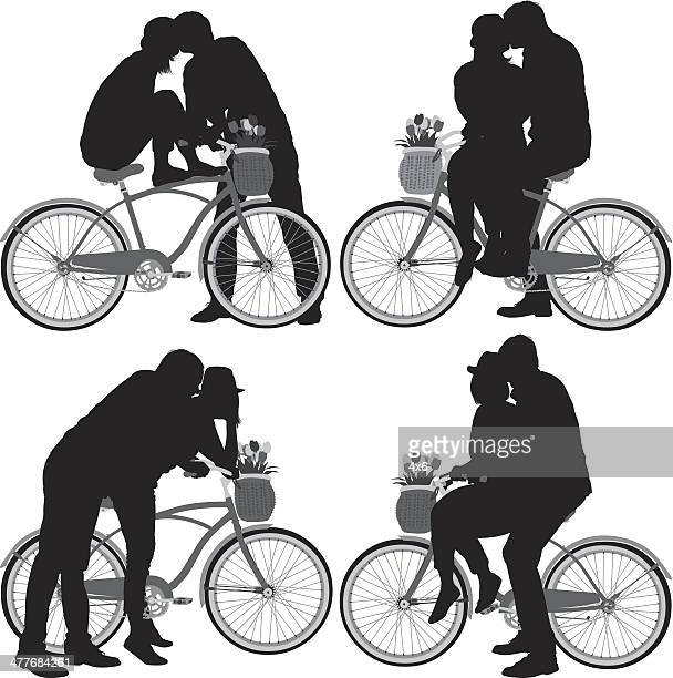 couple on bicycle - boyfriend stock illustrations, clip art, cartoons, & icons
