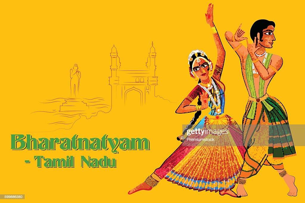 Couple performing Bharatanatyam classical dance of Tamil Nadu, India