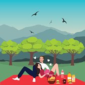 couple picnic man woman in park outdoor dating bring food