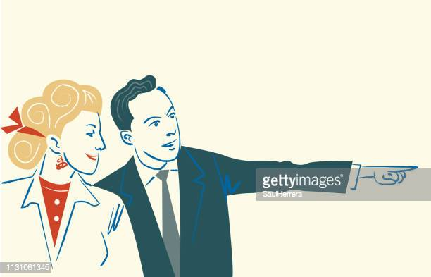 couple pointing - parejas stock illustrations