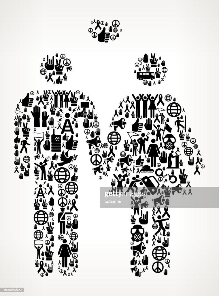 Couple Protest and Civil Rights Vector Icon Background : Stock Illustration