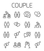 Couple related vector icon set.
