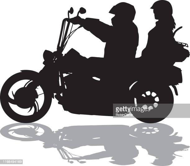 couple riding motorcycle with shadow silhouette - women black and white motorcycle stock illustrations