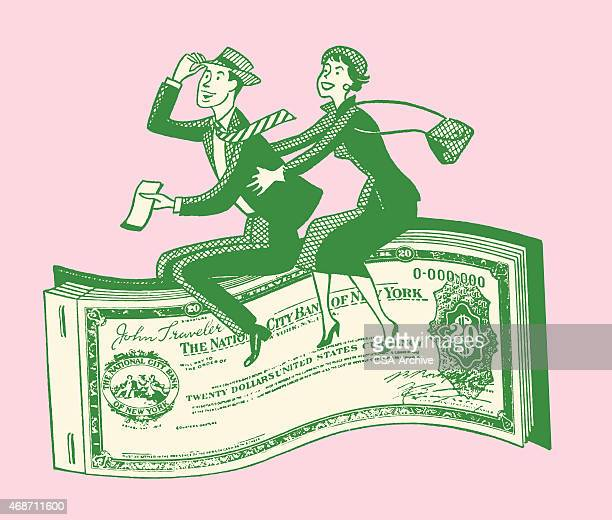 Couple Riding Paper Money