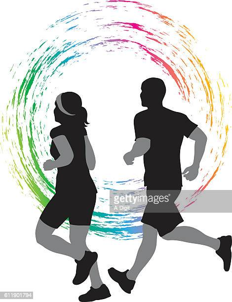 Couple Running Colored Icon Vector Silhouette