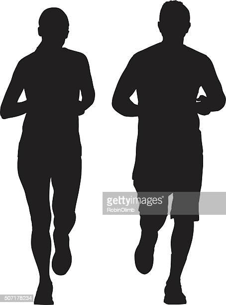 couple running together - jogging stock illustrations, clip art, cartoons, & icons
