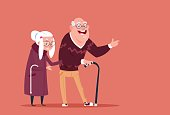 Couple Senior People Walking With Stick Modern Grandfather And Grandmother Full Length