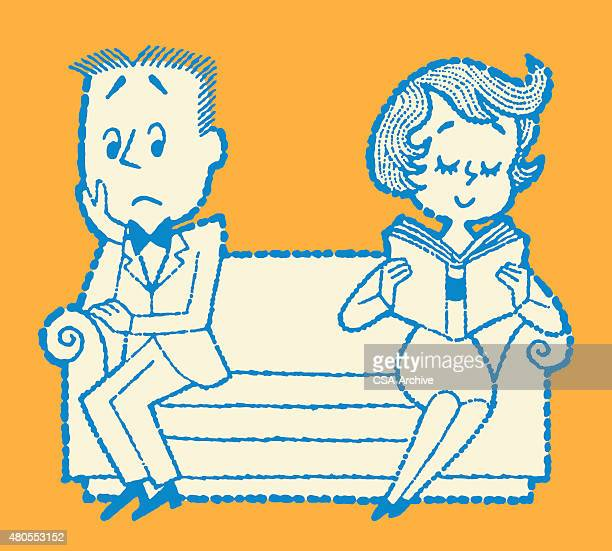 couple sitting apart on couch - ignoring stock illustrations, clip art, cartoons, & icons