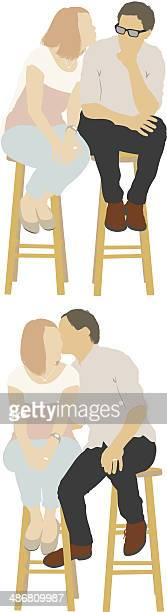 couple sitting on stool - boyfriend stock illustrations, clip art, cartoons, & icons
