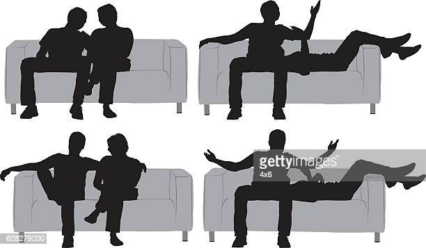 Couple sitting with various actions