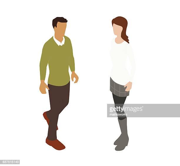 couple spot illustration - cardigan sweater stock illustrations, clip art, cartoons, & icons