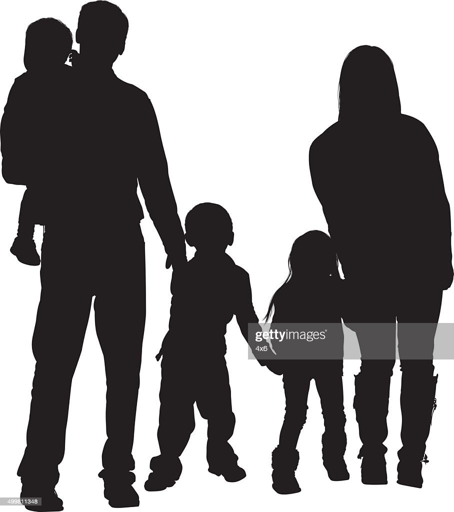 Couple standing with their baby : stock illustration