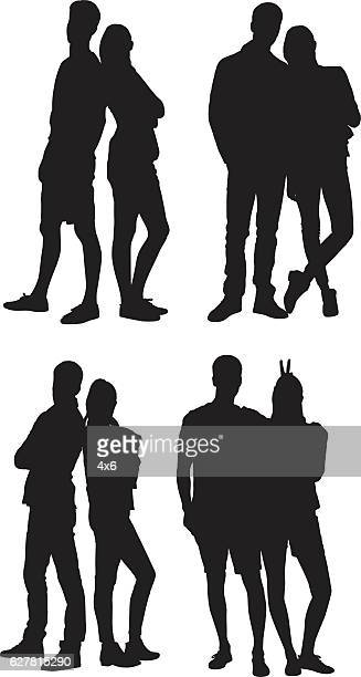 Couple standing with various actions