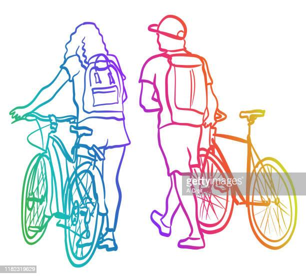 couple strolling along and walking their bicycles rainbow - teenagers only stock illustrations