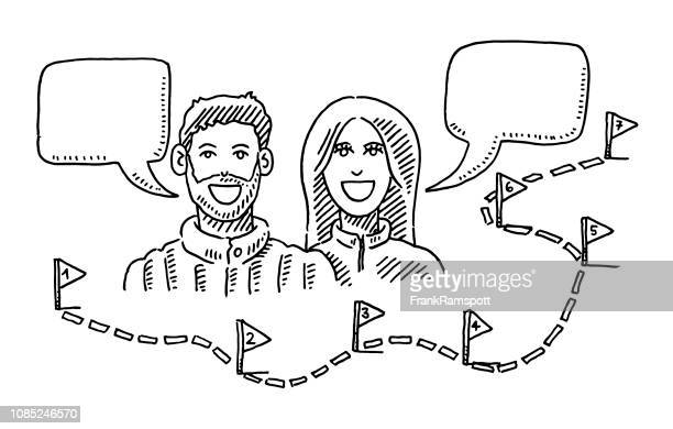 Paar reden, Pfad und Schritte Zeichnung