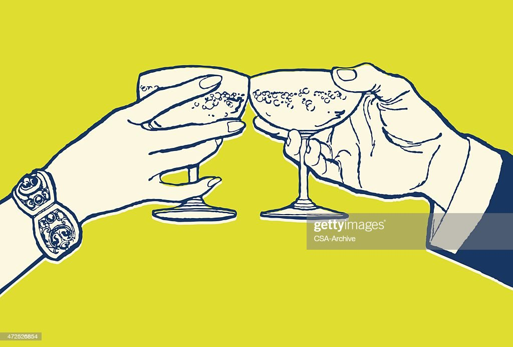 Couple Toasting With Cocktails
