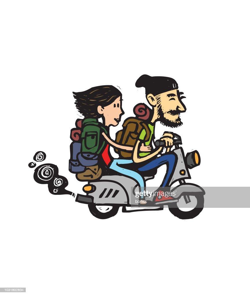 Couple traveling : stock illustration