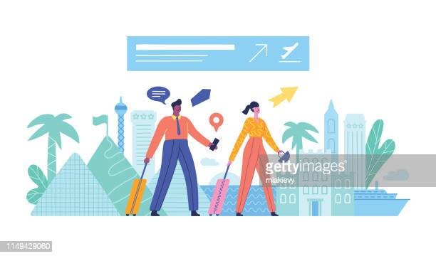 couple traveling - tourism stock illustrations