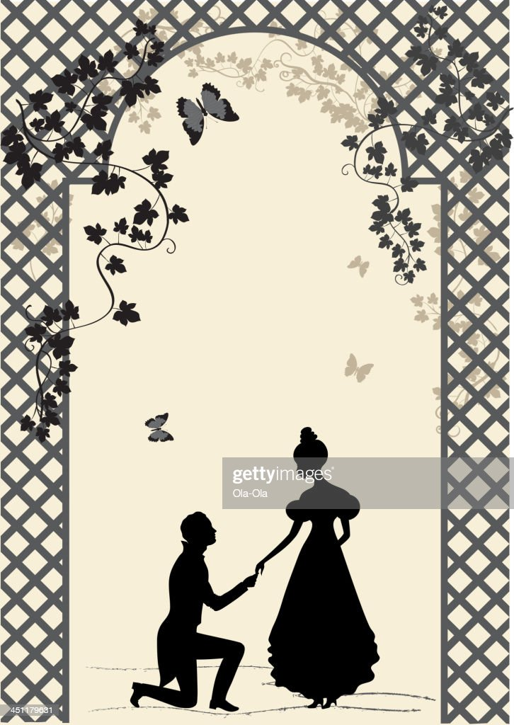 Couple under romantic arbor