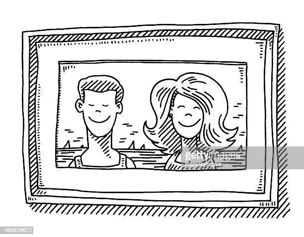 paar im urlaub foto bilderrahmen zeichnung - schwarzweiß bild stock-grafiken, -clipart, -cartoons und -symbole