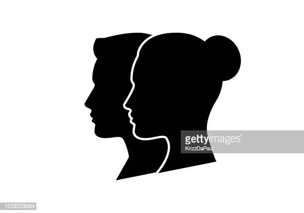 ilustrações, clipart, desenhos animados e ícones de par - perfil vista lateral