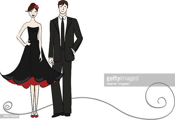 ilustraciones, imágenes clip art, dibujos animados e iconos de stock de una pareja - pareja bailando cuerpo entero