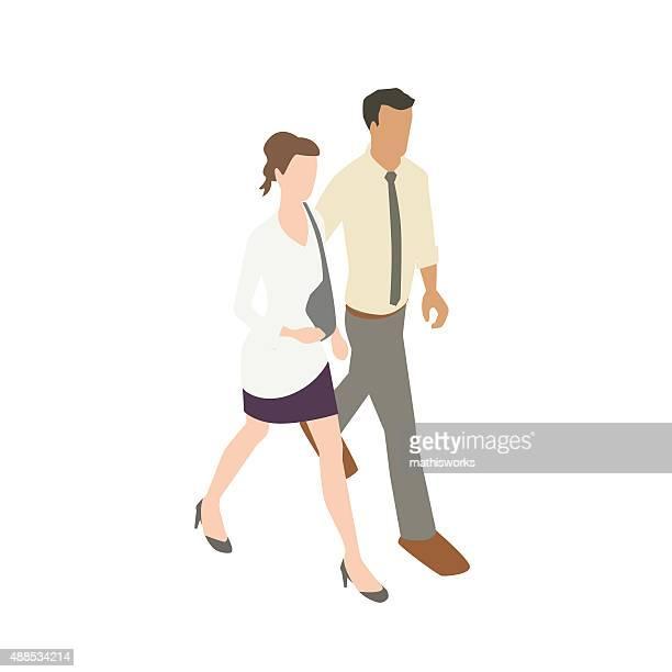 couple walking illustration - updo stock illustrations, clip art, cartoons, & icons