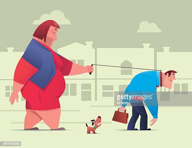 couple walking - fat female cartoon characters stock illustrations