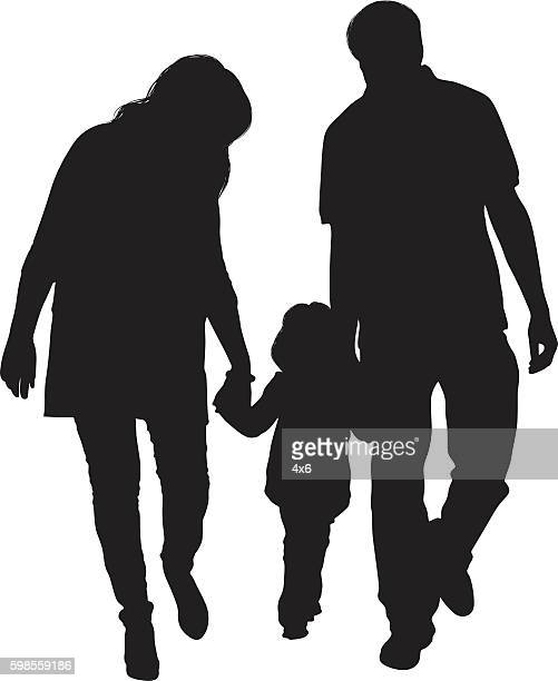 couple walking with their baby - clip art family stock illustrations