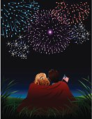 Couple watching Fourth of July Fireworks