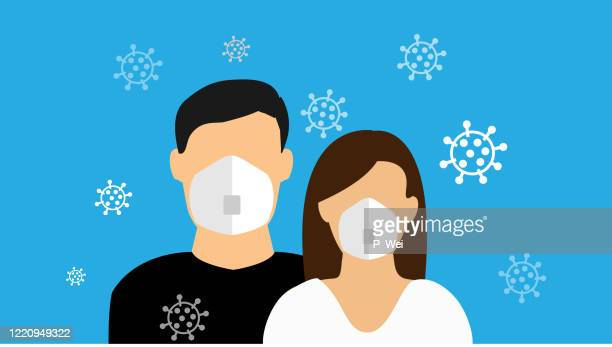 covid couple wearing n95 masks - couple relationship stock illustrations