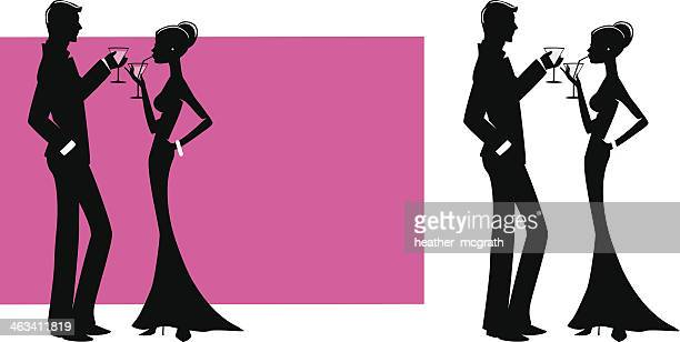 couple with cocktails - retrato formal stock illustrations