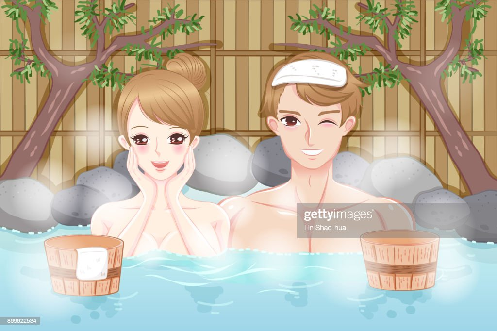 couple with hot spring