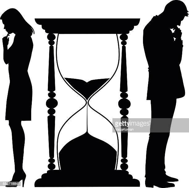 couple with relationship problems and hourglass - ignoring stock illustrations, clip art, cartoons, & icons