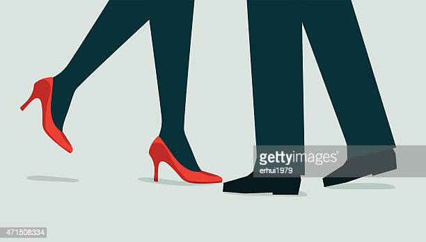 couple-illustration - flirting stock illustrations, clip art, cartoons, & icons