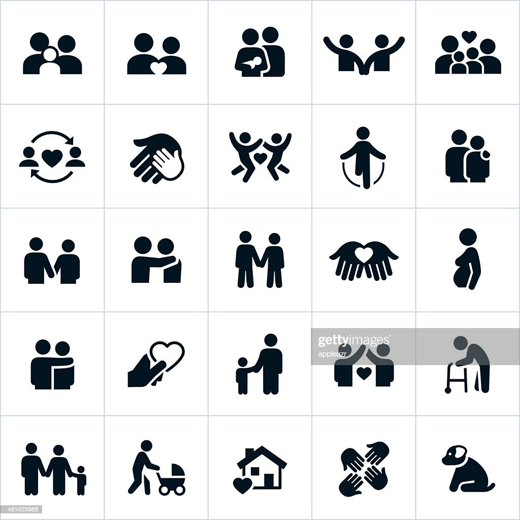 Couples and Family Relations Icons : stock illustration