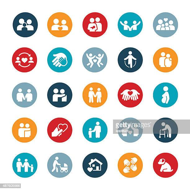 couples and family relations icons - parent stock illustrations
