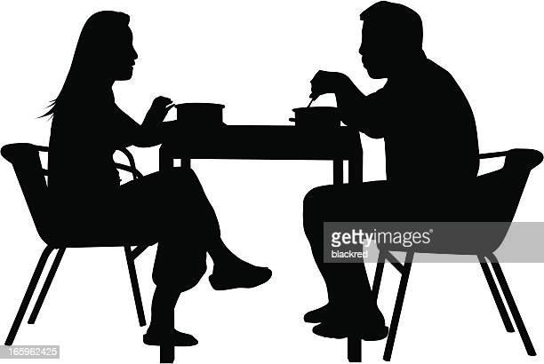 couples having dinner - dating stock illustrations