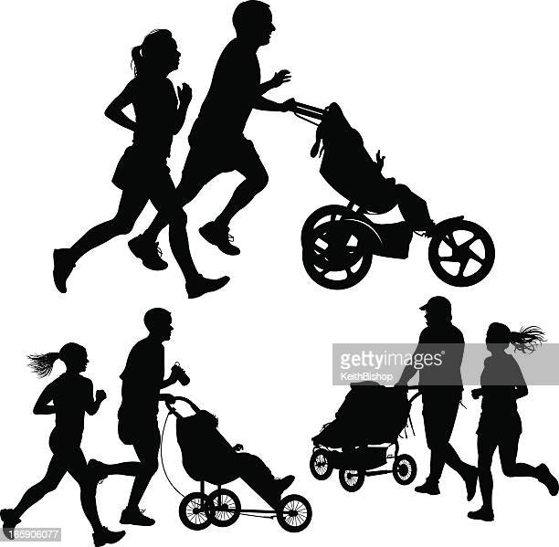 couples jogging or exercising with baby stroller - three wheeled pushchair stock illustrations, clip art, cartoons, & icons