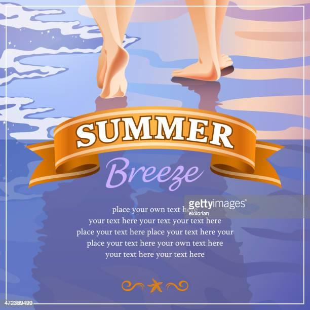 couples walking beside the beach in summer - honeymoon stock illustrations, clip art, cartoons, & icons