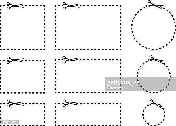 coupon borders with scissors - dotted line stock illustrations