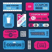 Coupon, Gift Voucher ticket card. Element template for design. Vector illustration.